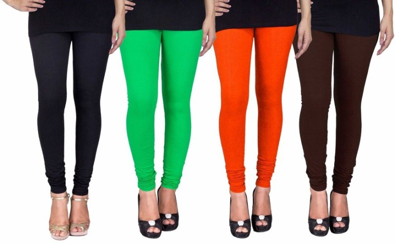 C&S Shopping Gallery Women's Black, Green, Orange, Brown Leggings(Pack of 4)