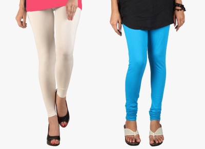 Saree Exotica Women's White, Blue Leggings