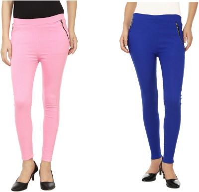Lambency Women's Pink, Blue Jeggings