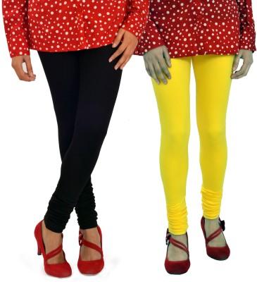Femninora Women's Black, Yellow Leggings