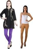 MDR Women's Brown, Purple Leggings (Pack...