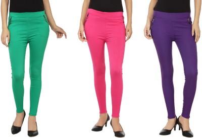 Emblazon Women's Pink, Purple, Green Jeggings