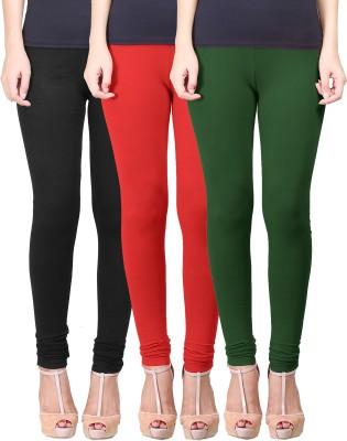 Eshelle Women's Black, Red, Dark Green Leggings