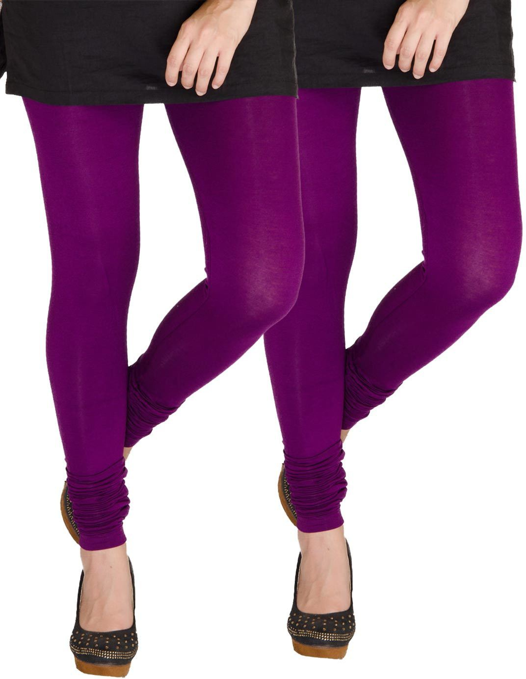 Medoo Womens Purple Leggings(Pack of 2)