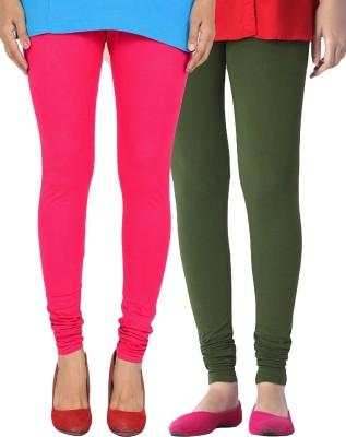 Zavlin Women's Pink, Dark Green Leggings