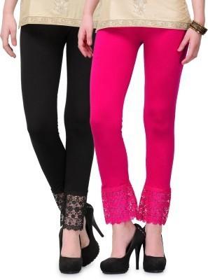 Fashion Arcade Women's Black, Pink Leggings