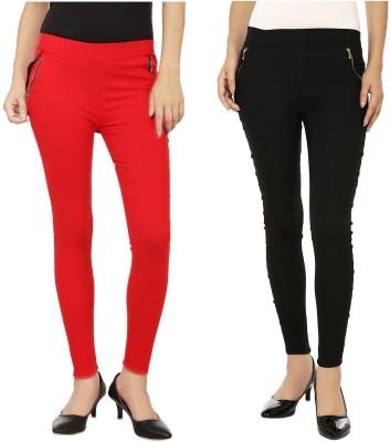 Emblazon Women's Red, Black Jeggings