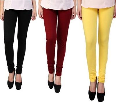 divine creations Women's Black, Maroon, Yellow Leggings