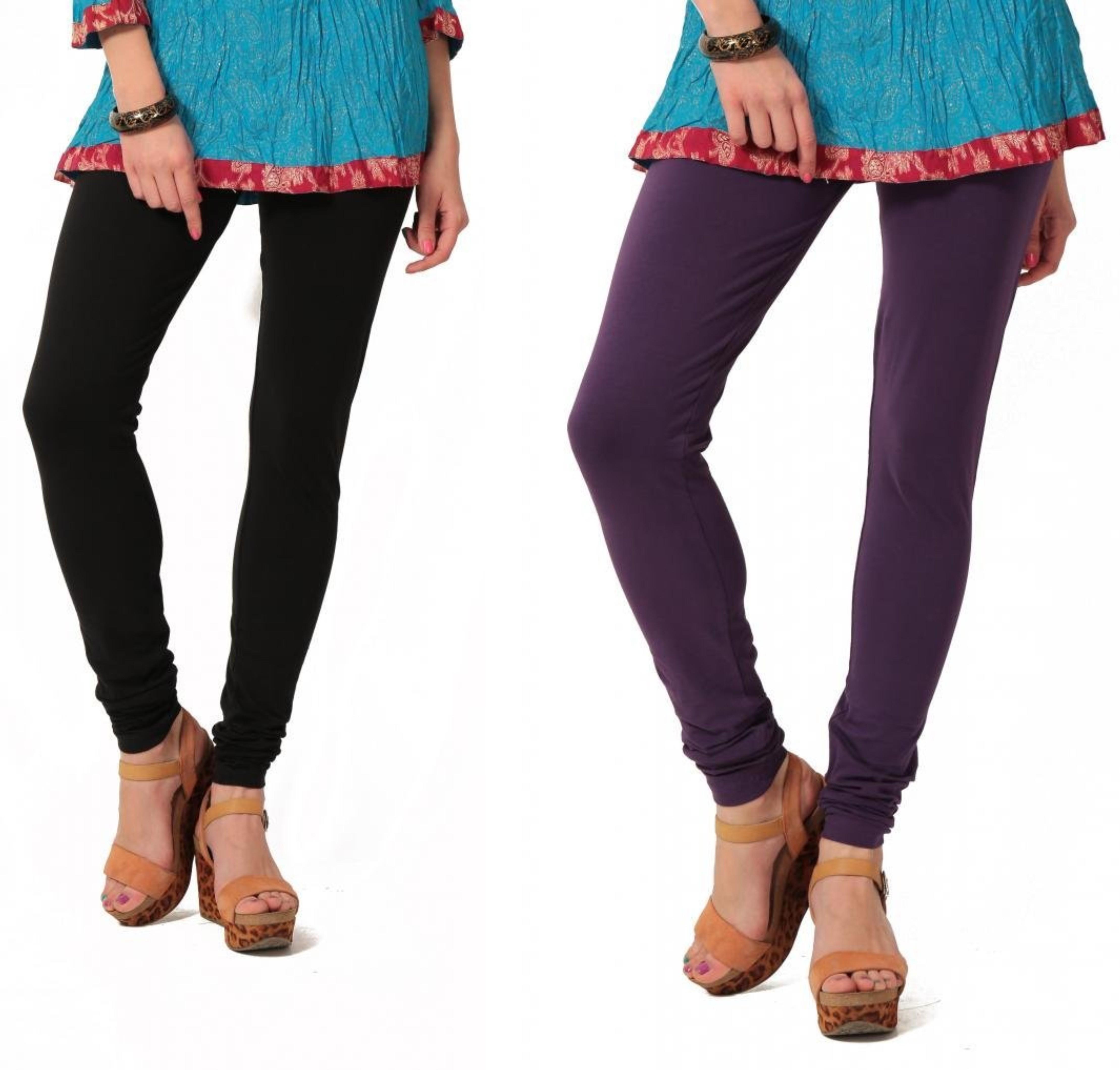 Angel Soft Womens Black, Purple Leggings(Pack of 2)