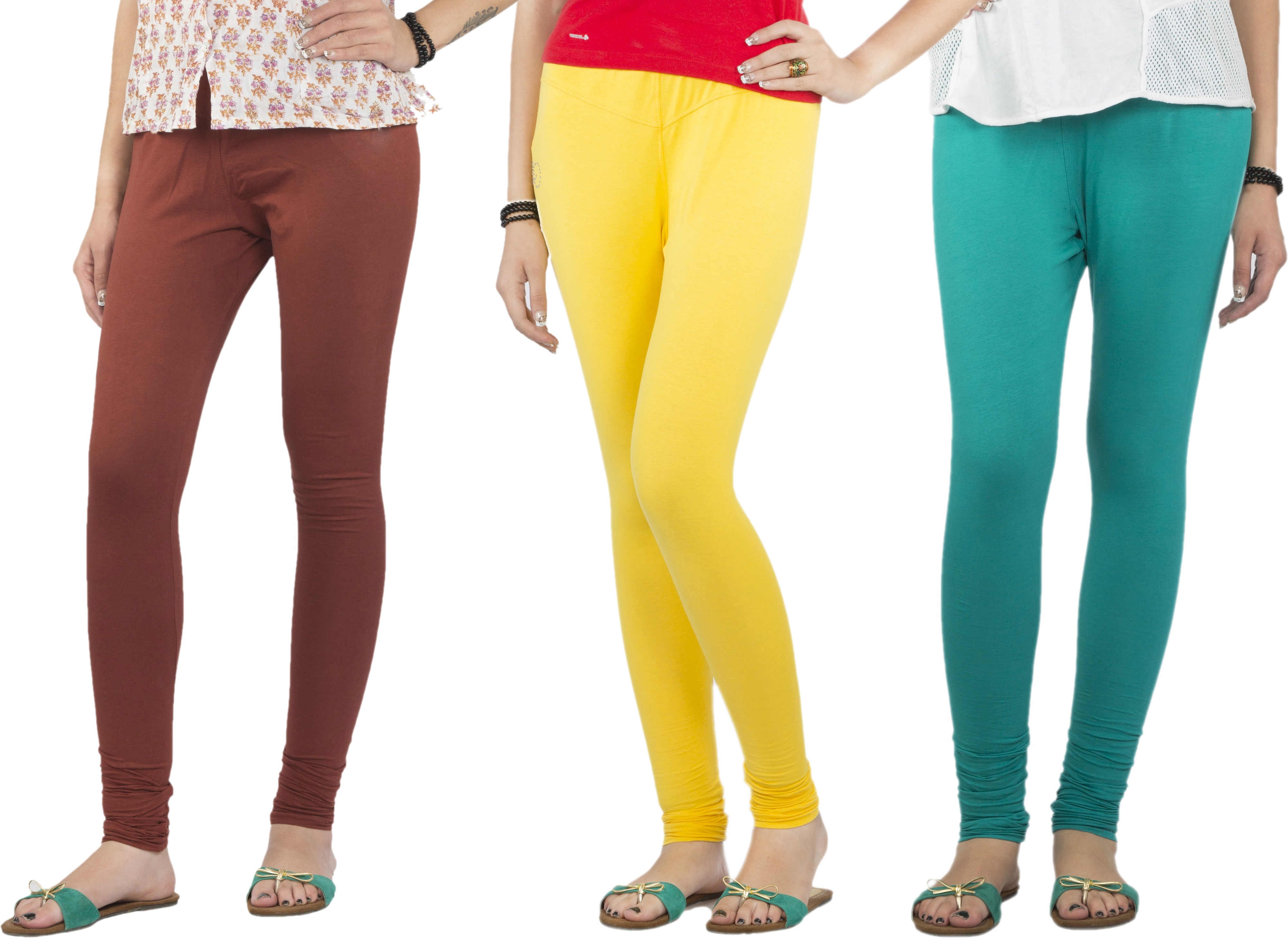 Jublee Womens Brown, Yellow, Green Leggings(Pack of 3)