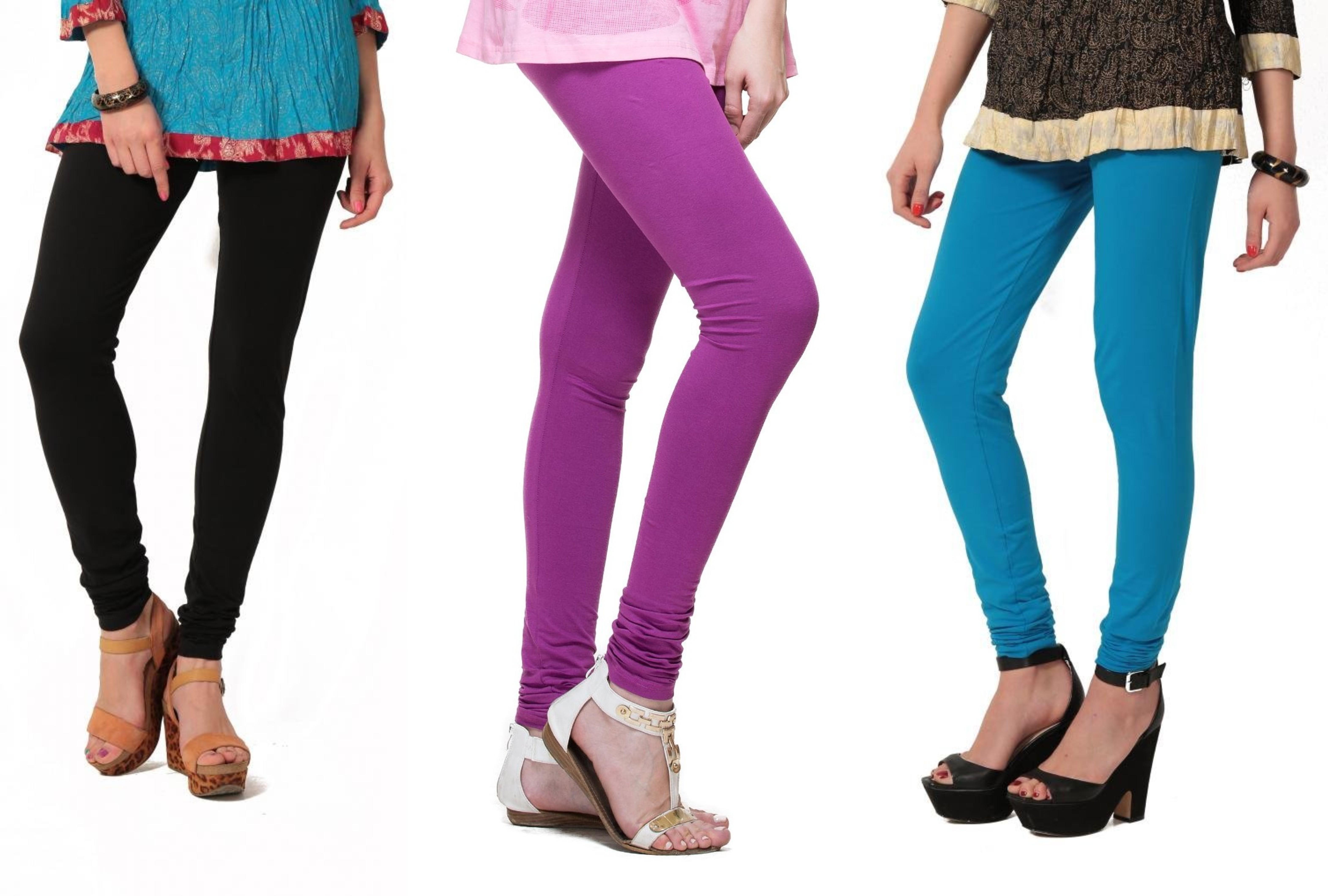 Angel Soft Womens Black, Purple, Light Blue Leggings(Pack of 3)