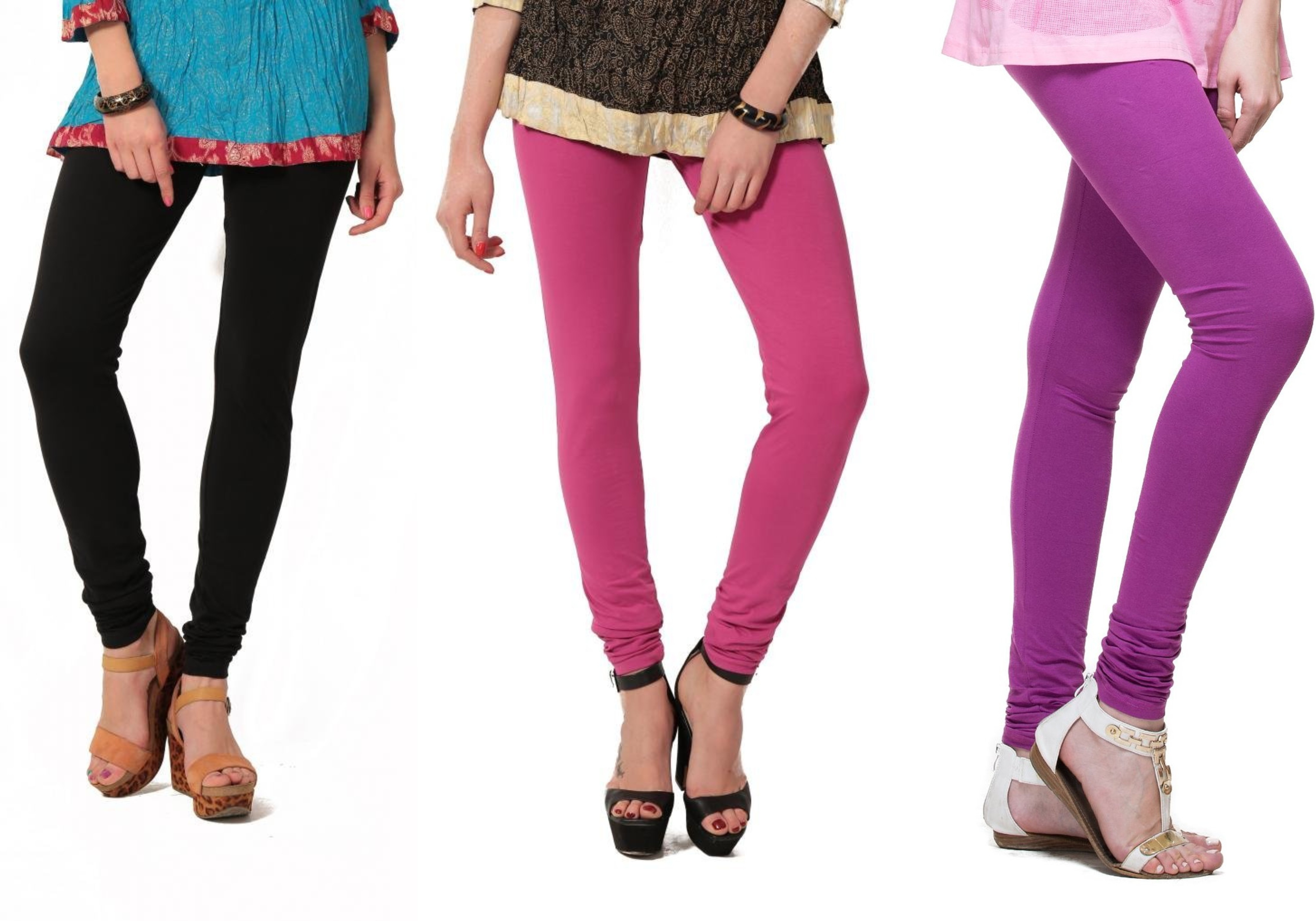 Angel Soft Womens Black, Pink, Purple Leggings(Pack of 3)