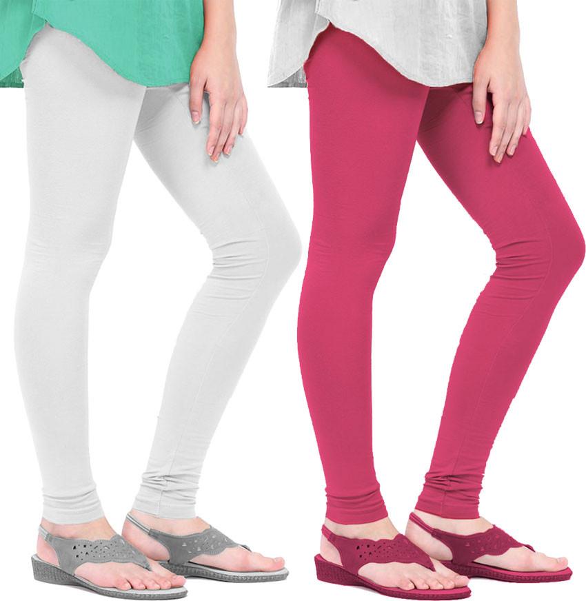 Mianuova Womens Pink, White Leggings(Pack of 2)