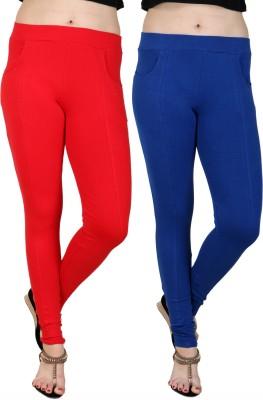 Faded Finch Women's Red, Blue Jeggings