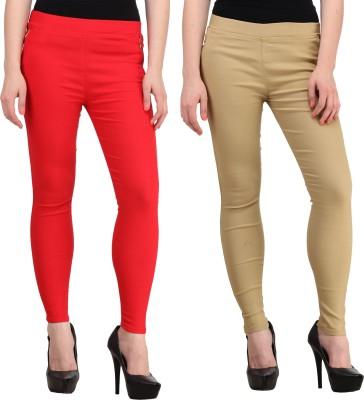 PRIHO Women's Red, Beige Jeggings