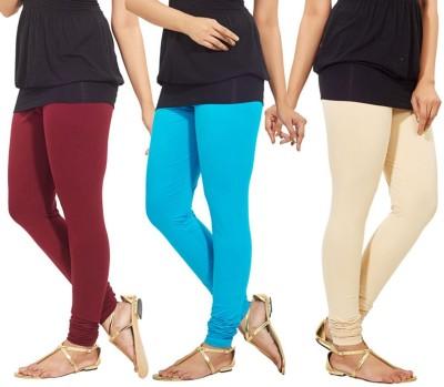 Roma Creation Women's Maroon, Light Blue, Beige Leggings