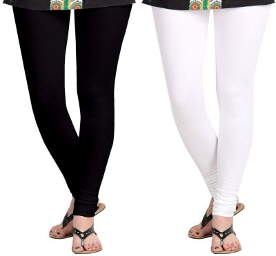 D-Nimes Women's Black, White Leggings(Pack of 2)