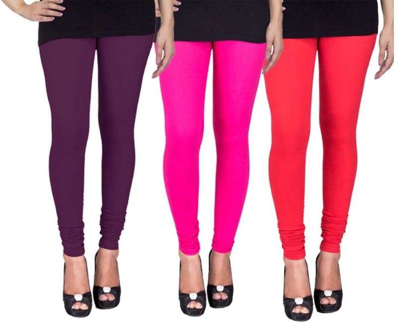 C&S Shopping Gallery Women's Purple, Pink, Red Leggings(Pack of 3)