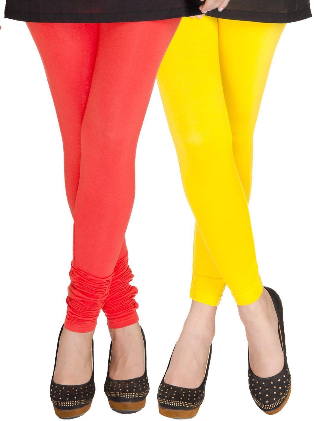 Medoo Womens Red, Yellow Leggings(Pack of 2)