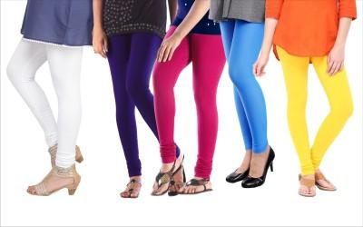 Melisa Women's White, Blue, Yellow, Pink, Blue Leggings