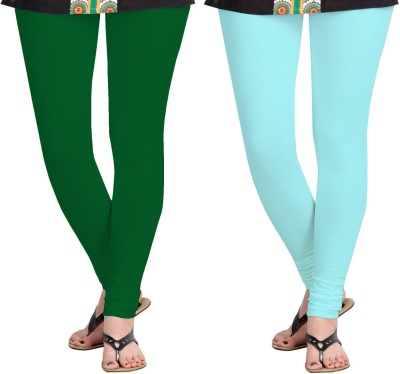 Aannie Women's Dark Green, Light Blue Leggings(Pack of 2) at flipkart