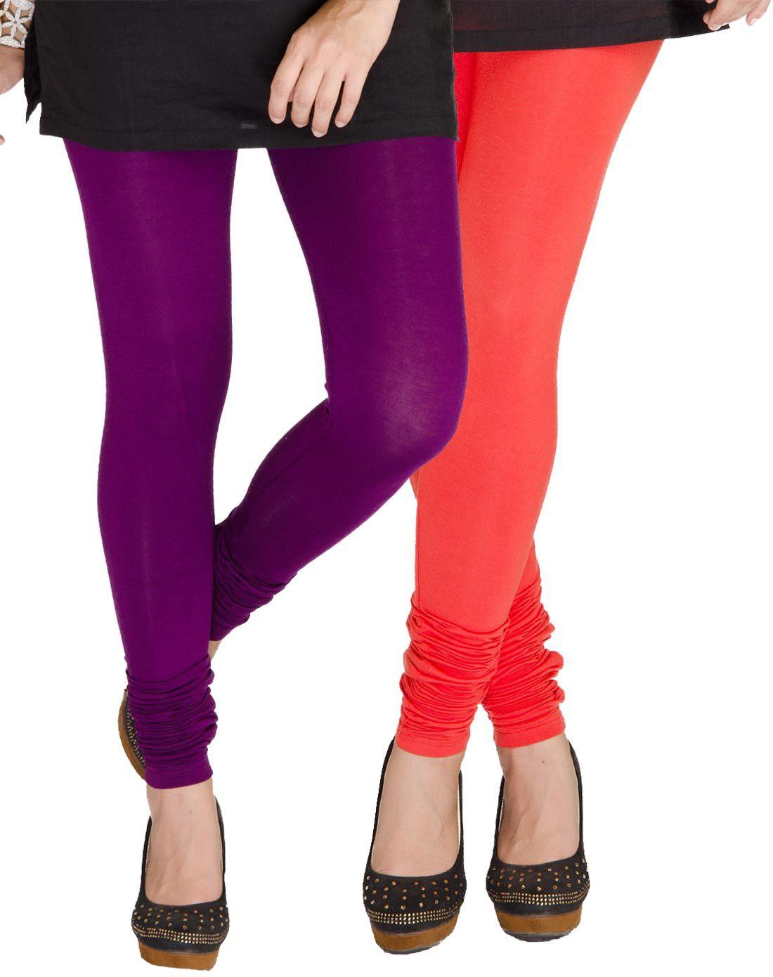 Medoo Womens Purple, Red Leggings(Pack of 2)