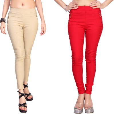 Comix Women's White, Red Jeggings