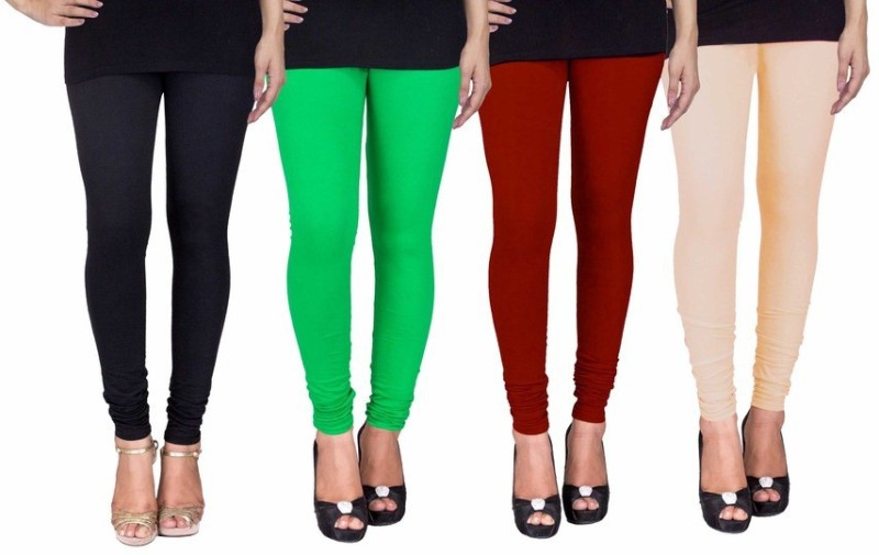C&S Shopping Gallery Women's Black, Green, Maroon, Beige Leggings(Pack of 4)