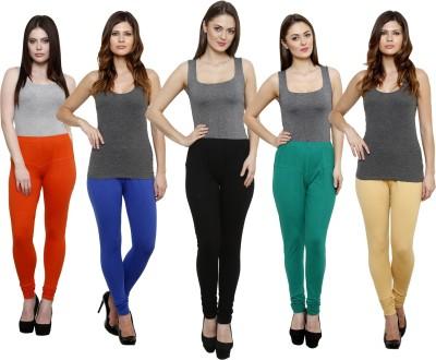 Pistaa Women's Orange, Blue, Black, Green, Beige Leggings