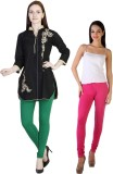 MDR Women's Green, Pink Leggings (Pack o...