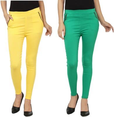 Lambency Women's Yellow, Green Jeggings
