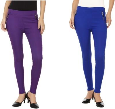 Lambency Women's Purple, Blue Jeggings