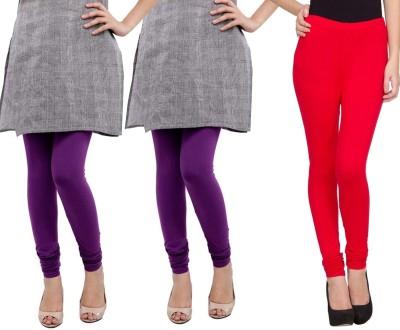 Sampoorna Collection Women's Red, Purple, Purple Leggings