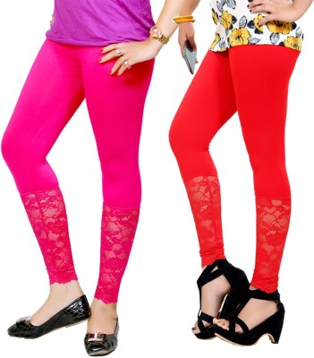 By The Way Women's Pink, Red Leggings