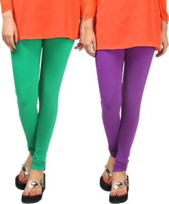 Anvi Fashion Women's Light Green, Purple Leggings