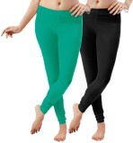 LGRL Women's Black Leggings (Pack of 2)
