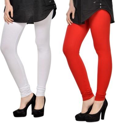 SareeGalaxy Women's White, Red Leggings