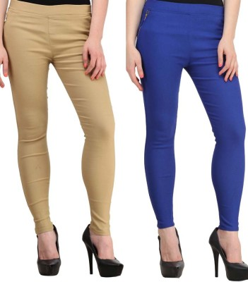 Magrace Women's Beige, Blue Jeggings