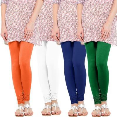 WellFitLook Women's Orange, White, Blue, Green Leggings