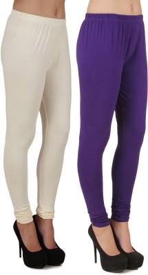 Stylishbae Women's White, Purple Leggings