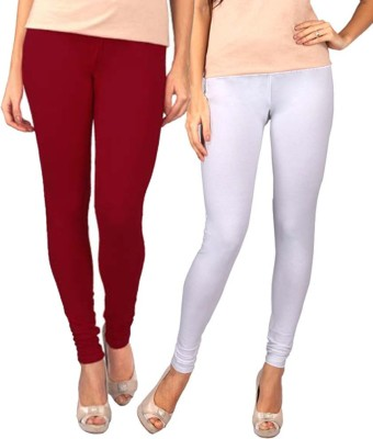 Sampoorna Collection Women's White, Maroon Leggings