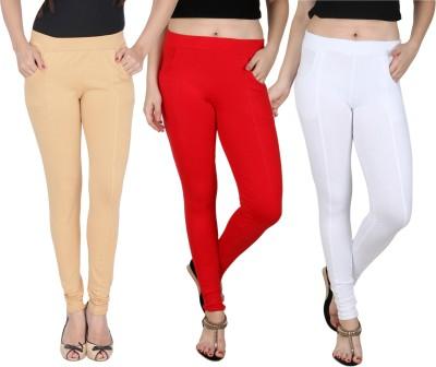 Nimya Women's Beige, Red, White Jeggings