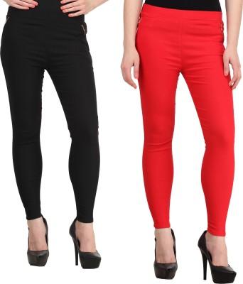 PRIHO Women's Black, Red Jeggings
