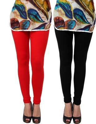 MI Beautiful Women's Black, Red Leggings(Pack of 2) at flipkart