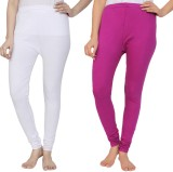 Krazy Katz Women's White, Purple Legging...