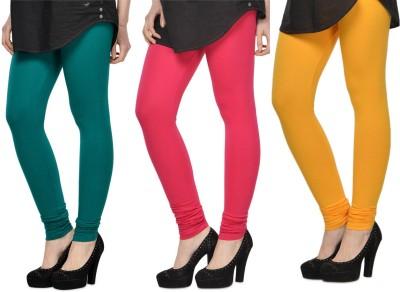 SareeGalaxy Women's Dark Blue, Pink, Yellow Leggings