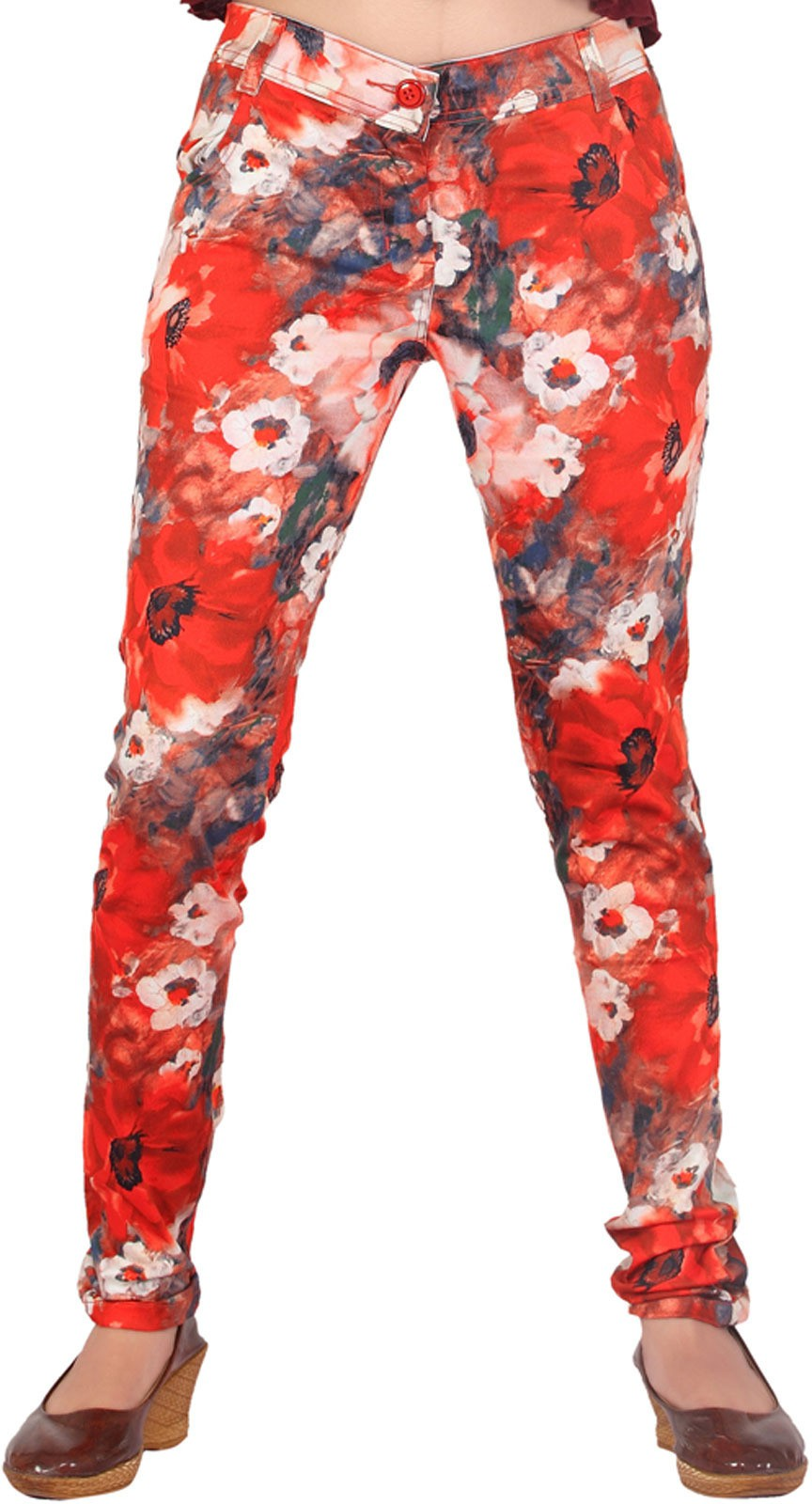 Inddus Womens Red Jeggings