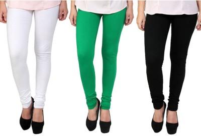 Shikha Women's White, Green, Black Leggings