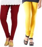 Fbling Women's Maroon, Yellow Leggings (...