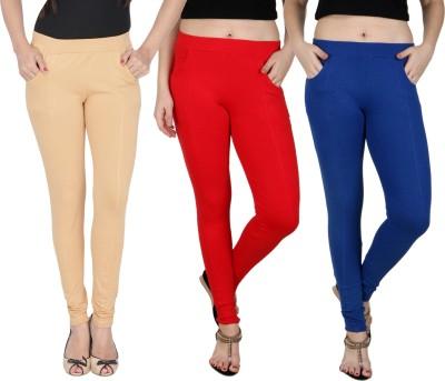 Baremoda Women's Beige, Red, Blue Jeggings